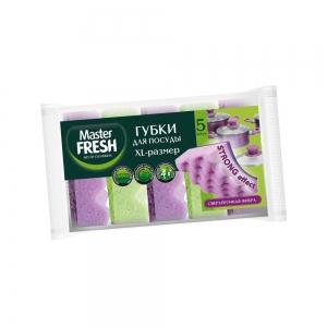Master FRESH Губки быт. д/мытья посуды XL STRONG effect, 5шт