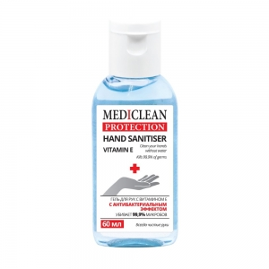 Гель для ухода за кожей рук Mediclean Protection Vitamin E с антибактериальным эффектом, 60мл