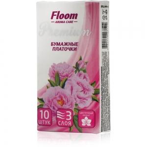 Платочки бумажные Floom Цветочные 3-слойные (10шт)
