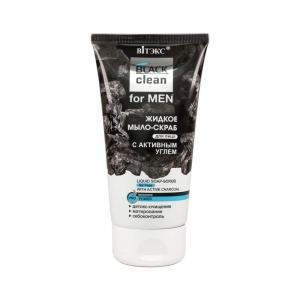 Жидкое мыло-скраб для лица BLACK clean for MEN с активным углем, 150мл тб
