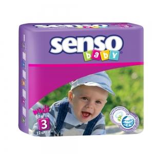 Подгузники для детей Senso Baby midi (4-9кг) с кремом-бальзамом (22шт)