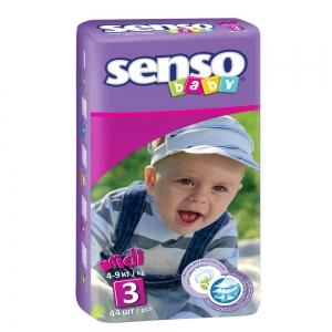 Подгузники для детей Senso Baby midi (4-9кг) с кремом-бальзамом (44шт)