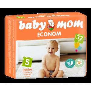 Подгузники для детей Baby Mom Econom junior (11-25кг) с кремом-бальзамом (32шт)