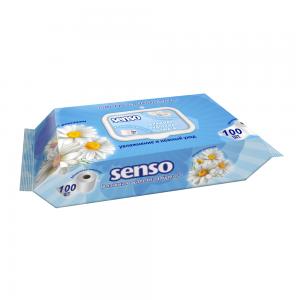Влажная туалетная бумага с экстрактом ромашки и молочной кислотой, 100 шт, с клапаном