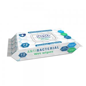 Влажные салфетки Антибактериальные, универсальные, 72 шт, с клапаном