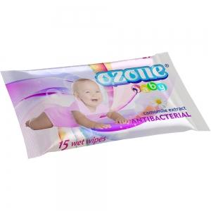 Салфетки влажные Детские 15 шт с экстрактом ромашки Антибактериальные