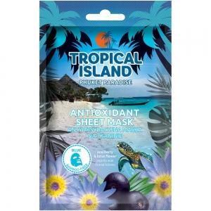 """Маска для лица Tropical Island Phuket """"Антиоксидантная"""" на тканевой основе (голубая)"""
