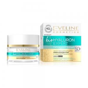 Гипоаллергенный крем-концентрат для лица Заполняющий морщины Eveline bioHyaluron Expert 50+, 50мл