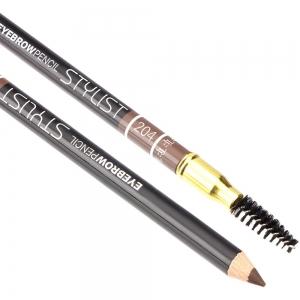"""Карандаш для бровей W-214-204C тон №204 """"Eyebrow Pencil Stylist"""" со щеточкой """"серо коричневый"""""""