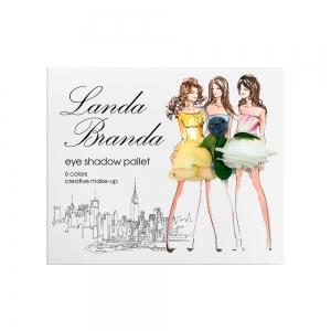 Landa Branda, Палетка теней для глаз 6 тонов (ocean mystery) морской/серебро/серый/белый/стальной/черный